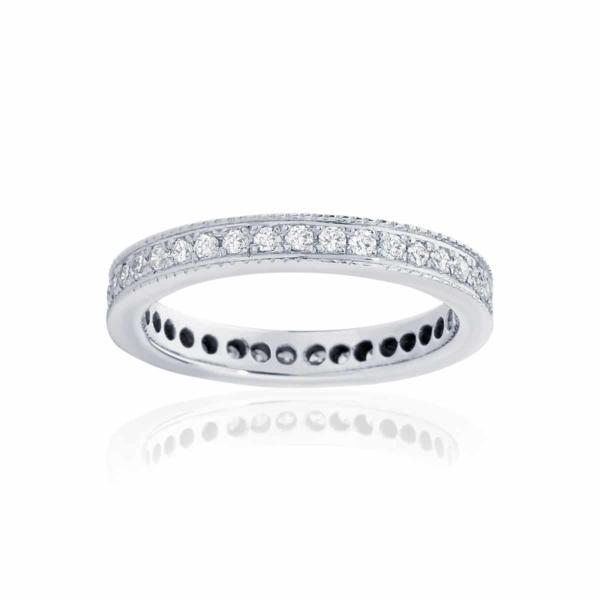 Womens White Gold Wedding Ring|Infinity Millgrain