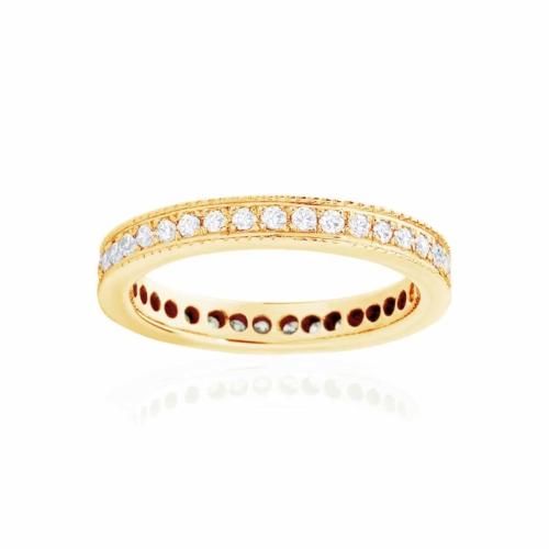 Womens Yellow Gold Wedding Ring|Infinity Millgrain