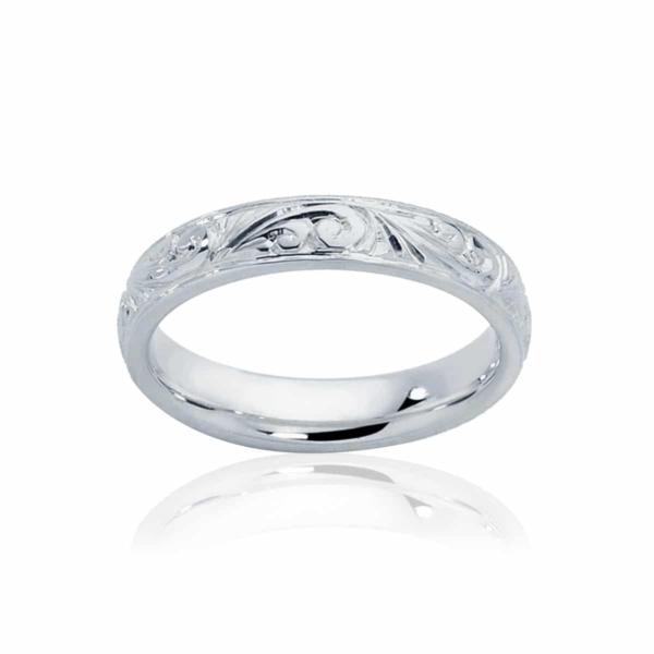 Womens Vintage Platinum Wedding Ring|Inscription