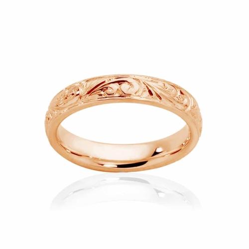 Womens Vintage Rose Gold Wedding Ring|Inscription