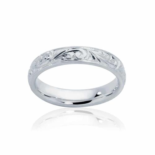 Womens Vintage White Gold Wedding Ring|Inscription