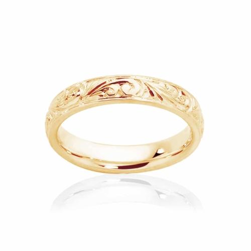 Womens Vintage Yellow Gold Wedding Ring|Inscription