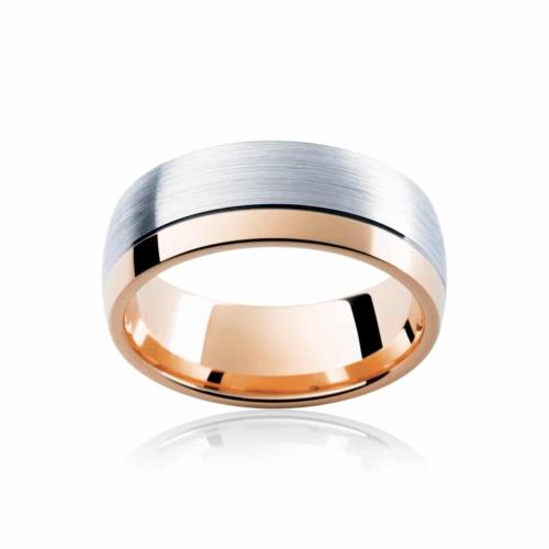 Mens Two Tone Rose Gold Wedding Ring|Laguna