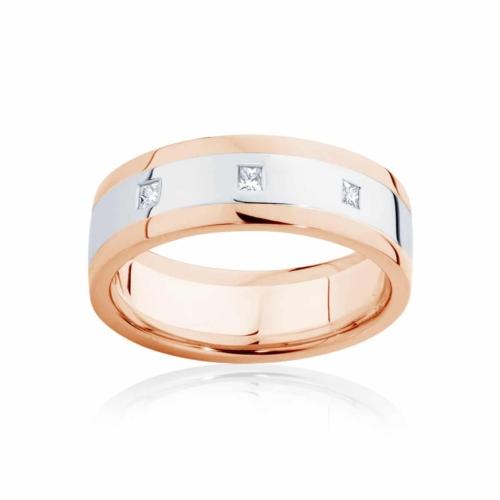 Mens Two Tone Rose Gold Wedding Ring Langdon
