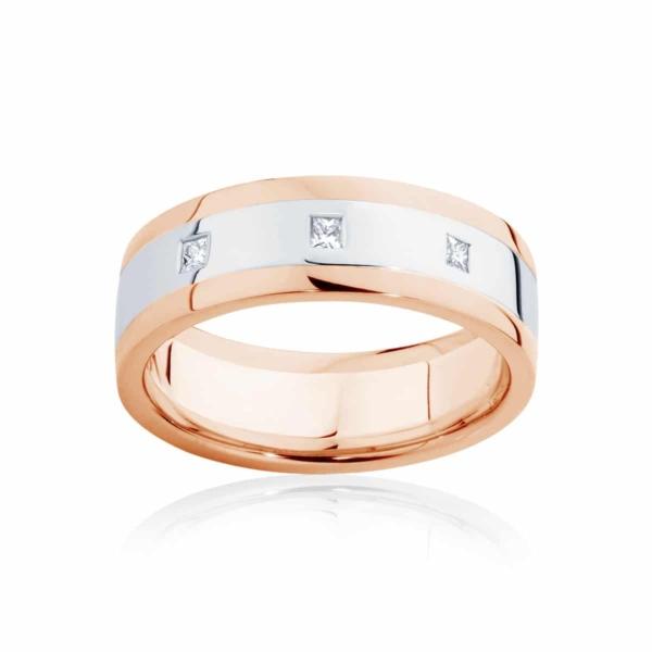 Mens Two Tone Rose Gold Wedding Ring|Langdon