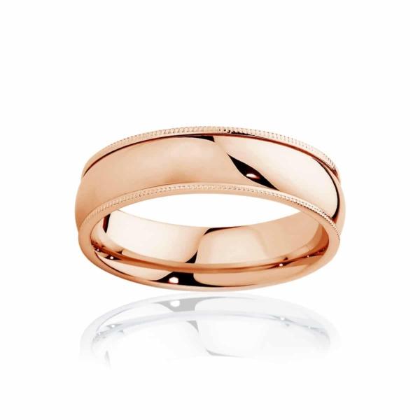 Mens Classic Vintage Rose Gold Wedding Ring|Millgrain