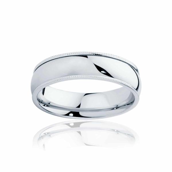 Mens Classic Vintage White Gold Wedding Ring|Millgrain