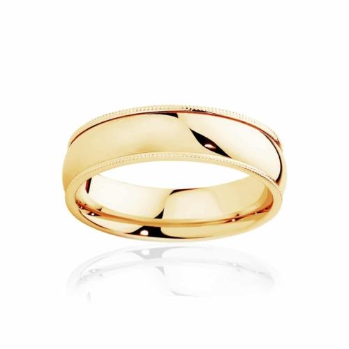 Mens Classic Vintage Yellow Gold Wedding Ring|Millgrain