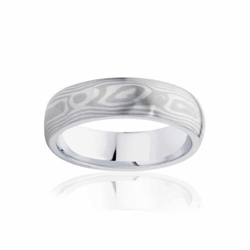 Mens Mokume White Gold Wedding Ring|Mokume Alpine