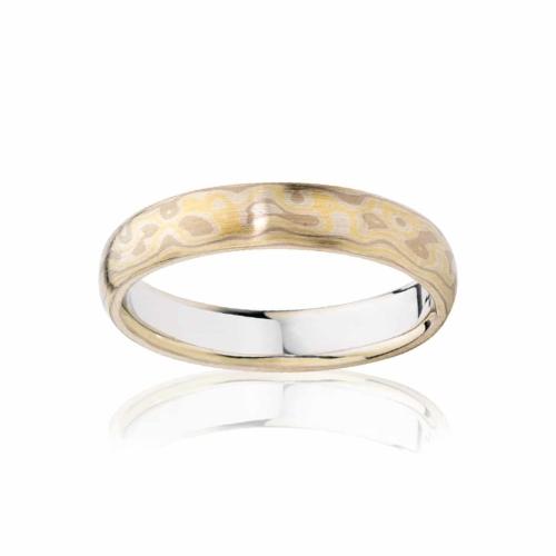 Mens White Yellow Gold Wedding Ring Mokume Desert