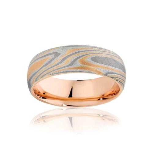 Mens Mokume Rose Gold Wedding Ring Mokume Jupiter