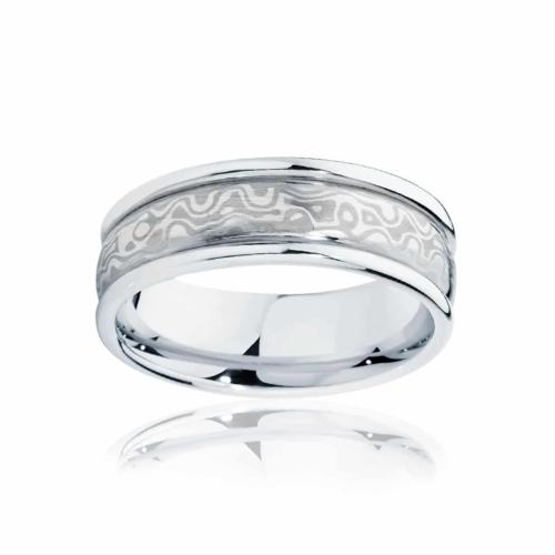 Mens Mokume White Gold Wedding Ring Mokume Snowgum