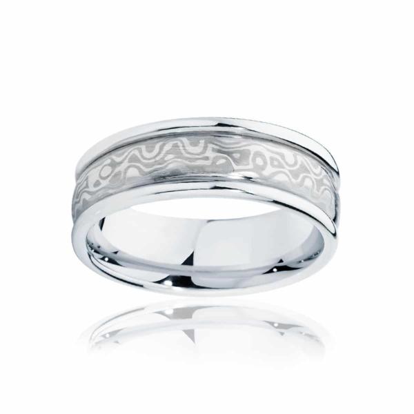 Mens Mokume White Gold Wedding Ring|Mokume Snowgum