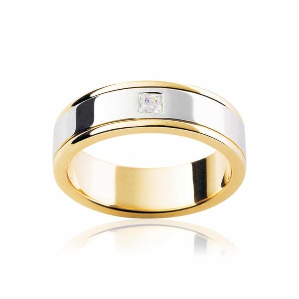 Mens Two Tone Yellow Gold Wedding Ring|Oberon