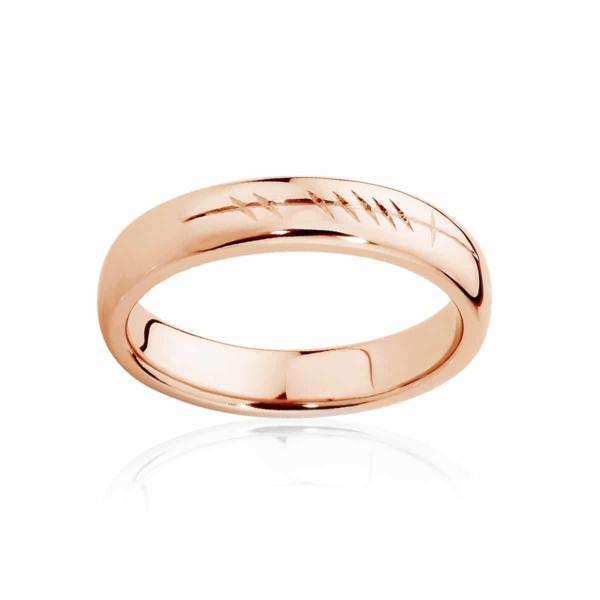 Mens Rose Gold Wedding Ring Ogham