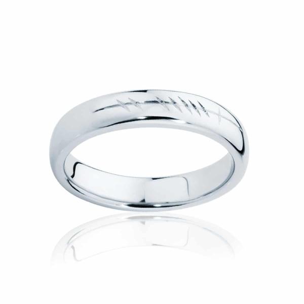 Mens White Gold Wedding Ring|Ogham