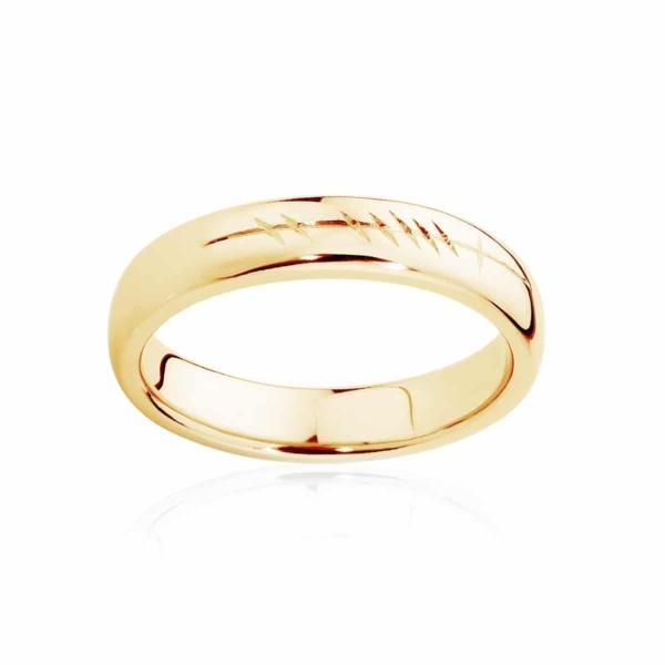 Mens Yellow Gold Wedding Ring|Ogham