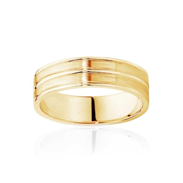 Mens Two Tone Yellow Gold Wedding Ring|Oslo