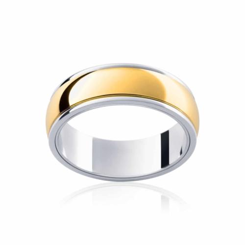 Mens Two Tone Yellow Gold Wedding Ring Rhone