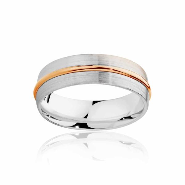 Mens Two Tone Rose Gold Wedding Ring|Saturn