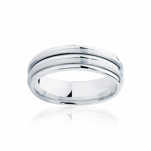 Mens White Gold Wedding Ring Stamford