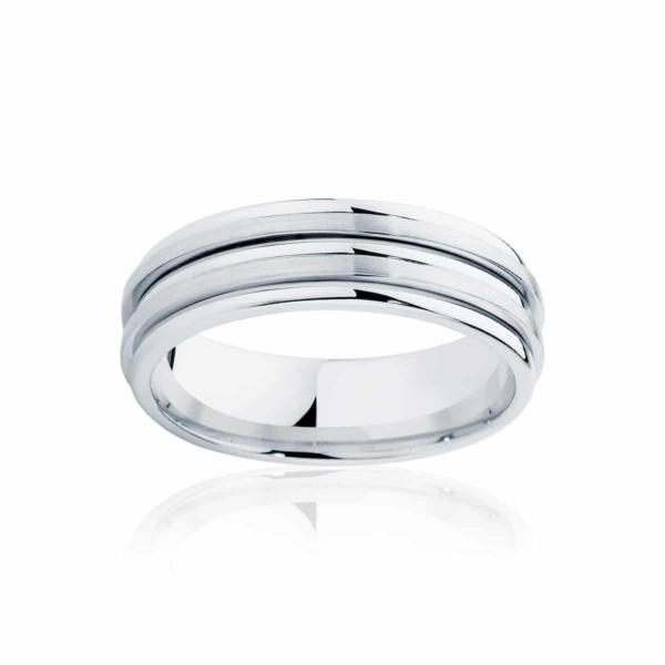Mens White Gold Wedding Ring|Stamford