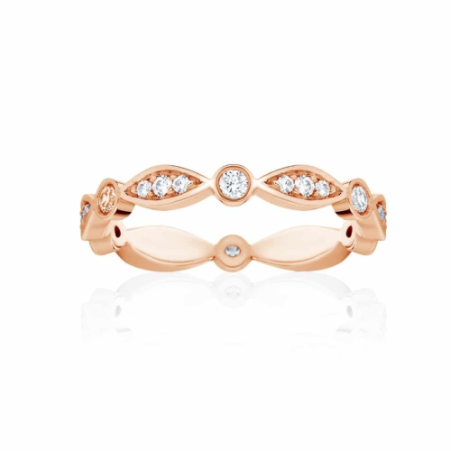 Womens Vintage Rose Gold Wedding Ring|Stella Brilliant