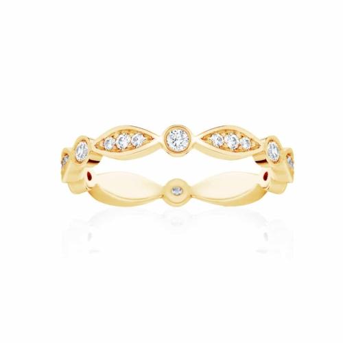Womens Vintage Yellow Gold Wedding Ring Stella Brilliant