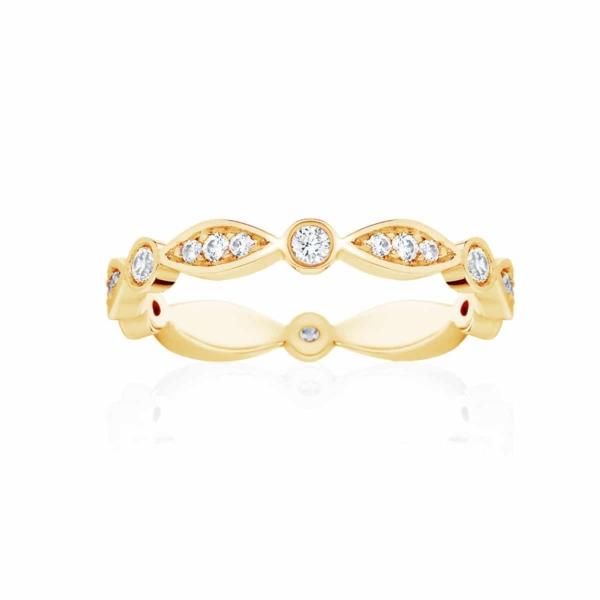 Womens Vintage Yellow Gold Wedding Ring|Stella Brilliant