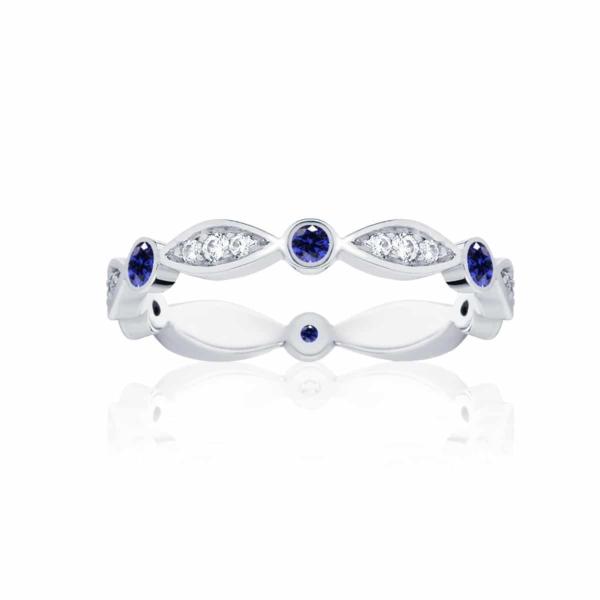 Womens Vintage White Gold Wedding Ring|Stella Sapphire
