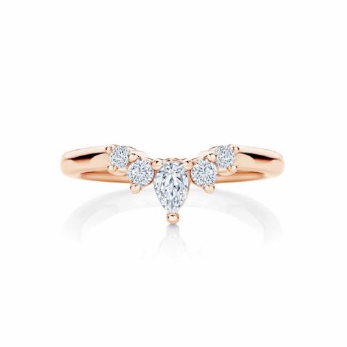 Womens Contoured Rose Gold Wedding Ring Tiara