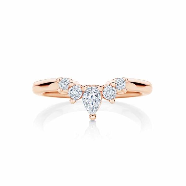 Womens Contoured Rose Gold Wedding Ring|Tiara