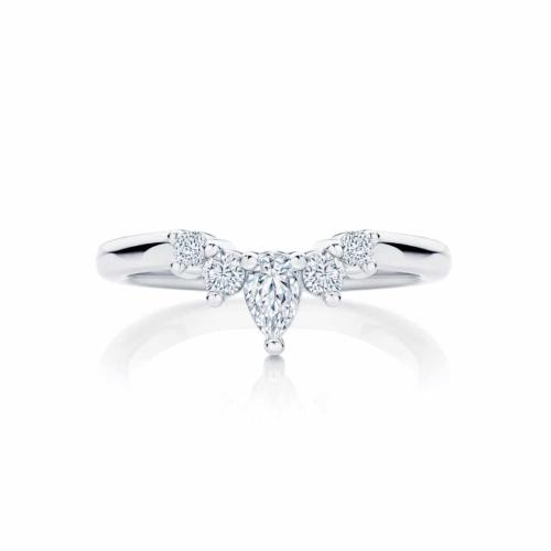Womens Contoured White Gold Wedding Ring|Tiara