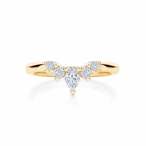 Womens Contoured Yellow Gold Wedding Ring Tiara