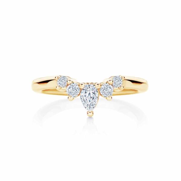 Womens Contoured Yellow Gold Wedding Ring|Tiara