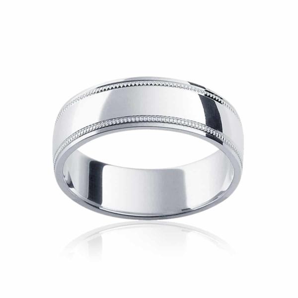 Mens White Gold Wedding Ring Umbria