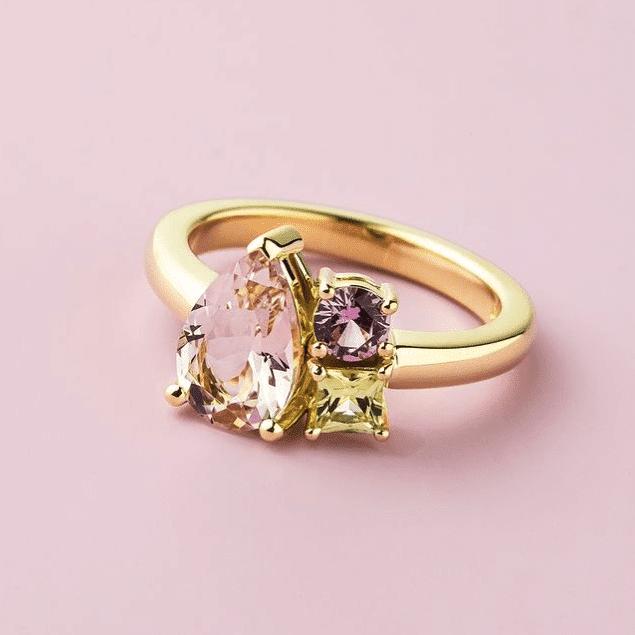 Asymmetrical three stone ring