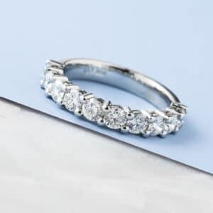 Custom diamonds wedding ring in white gold