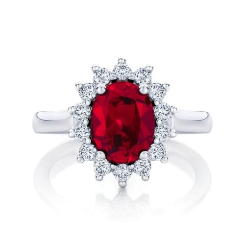 Ruby Halo Engagement Ring Platinum | Aquarius Cerise