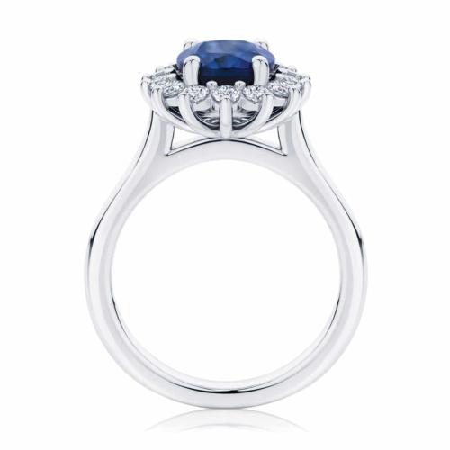 Oval Halo Dress Ring Platinum   Aquarius