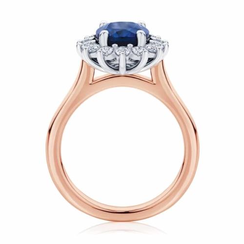Oval Halo Dress Ring Rose Gold   Aquarius
