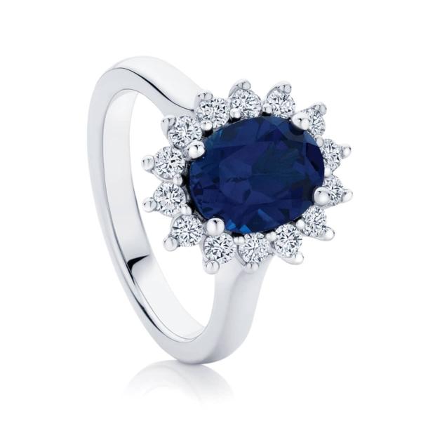 Oval Halo Dress Ring White Gold   Aquarius