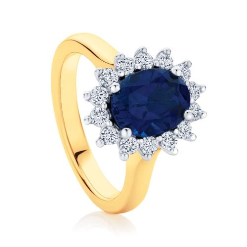 Oval Halo Dress Ring Yellow Gold   Aquarius