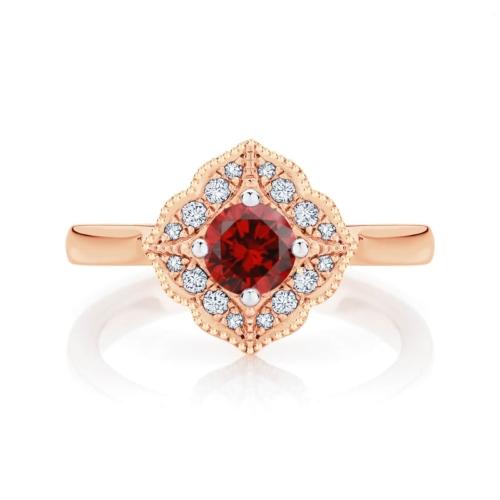 Round Ruby Dress Ring Rose Gold   Arabesque Cerise