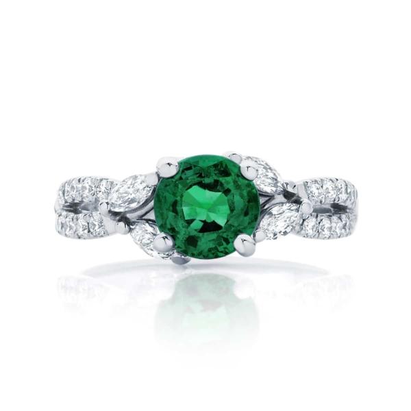 Emerald Side Stones Dress Ring White Gold   Athena Botanica