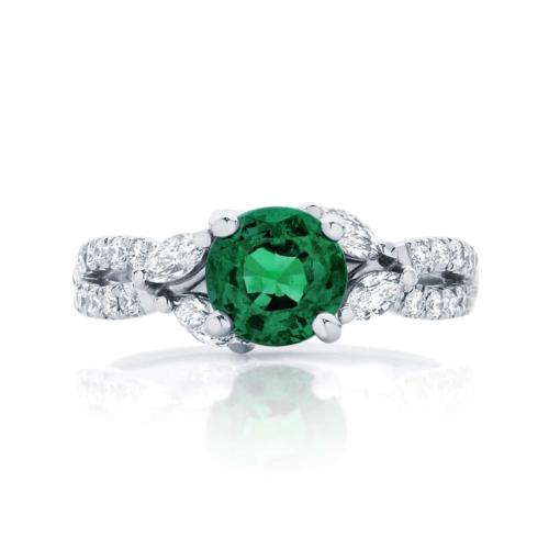 Emerald Side Stones Engagement Ring White Gold   Athena Botanica