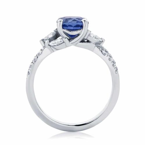 Round Side Stones Dress Ring Platinum   Athena