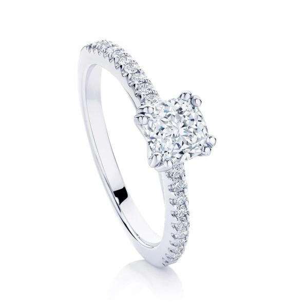 Cushion Cut Diamond Engagement Ring White Gold   Aurelia (Cushion)