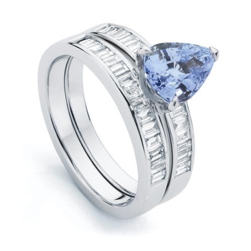 Pear Side Stones Dress Ring Platinum | Azure