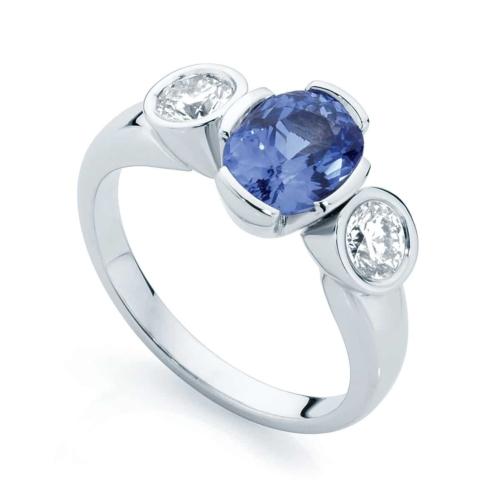 Oval Three Stone Dress Ring Platinum   Azure Trilogy